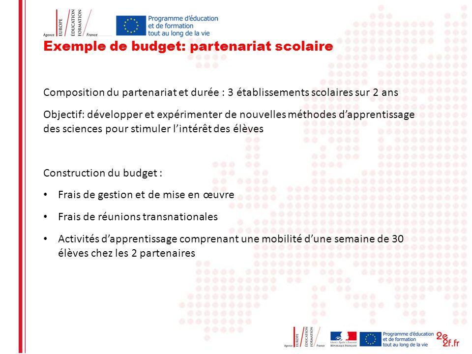 Exemple de budget: partenariat scolaire Composition du partenariat et durée : 3 établissements scolaires sur 2 ans Objectif: développer et expérimente