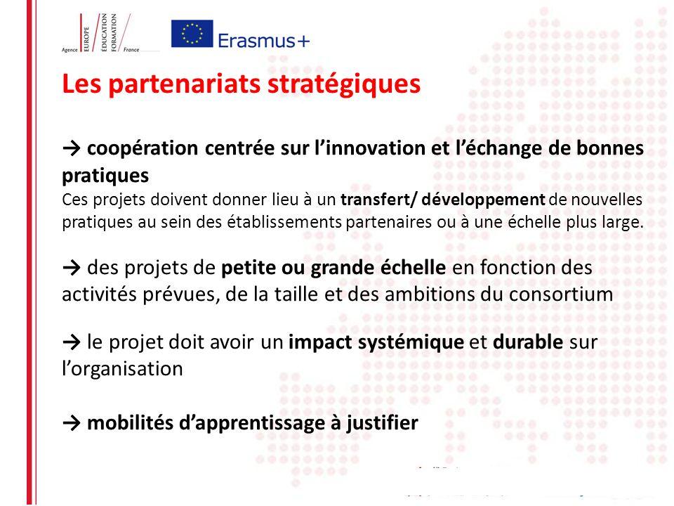 Les partenariats stratégiques coopération centrée sur linnovation et léchange de bonnes pratiques Ces projets doivent donner lieu à un transfert/ déve