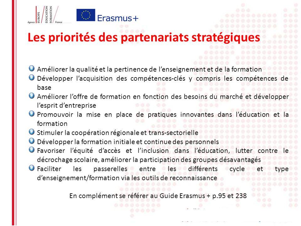 Les priorités des partenariats stratégiques Améliorer la qualité et la pertinence de lenseignement et de la formation Développer lacquisition des comp