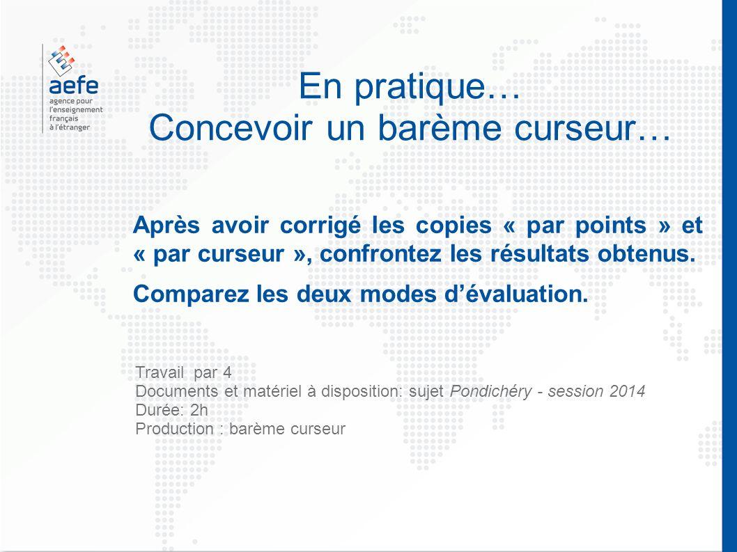 En pratique… Concevoir un barème curseur… Après avoir corrigé les copies « par points » et « par curseur », confrontez les résultats obtenus.