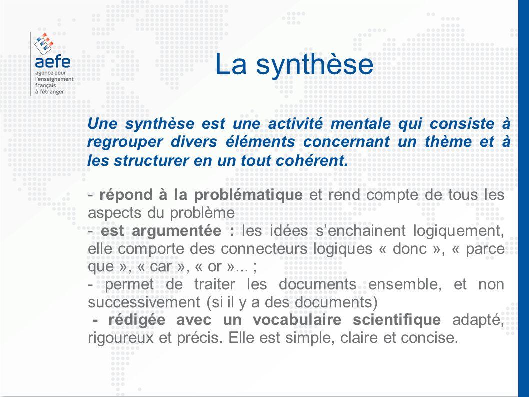 La synthèse Une synthèse est une activité mentale qui consiste à regrouper divers éléments concernant un thème et à les structurer en un tout cohérent.