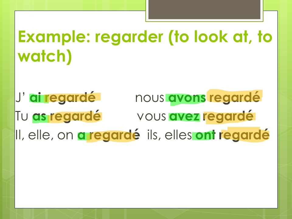 Passé composé is the equivalent of 3 ways to express past tense in English: Ex.