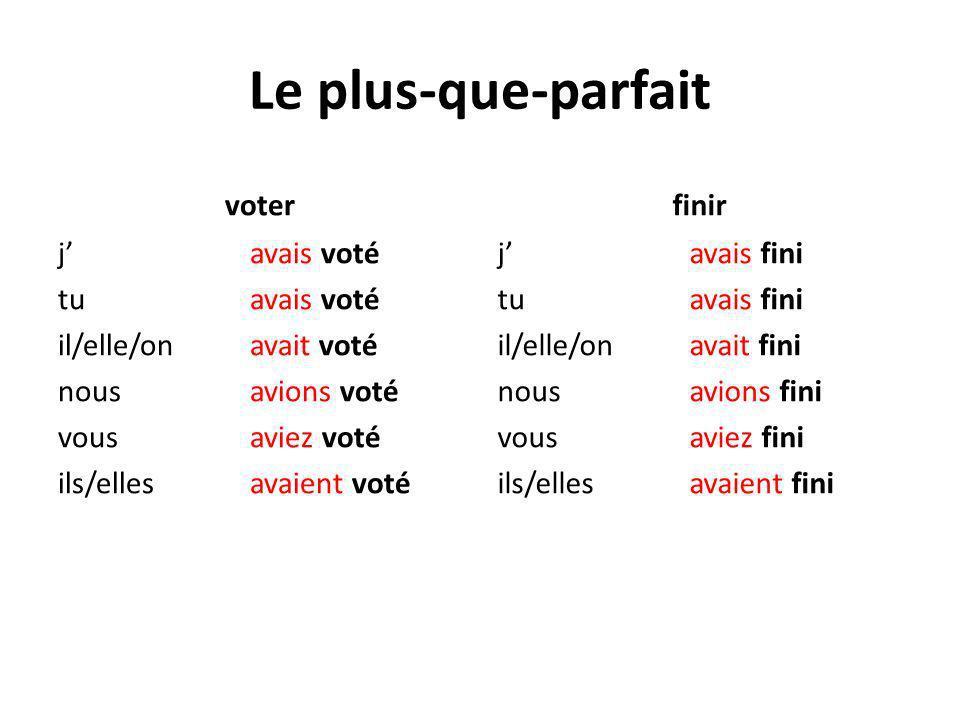 Le plus-que-parfait voter j avais voté tu avais voté il/elle/on avait voté nousavions voté vous aviez voté ils/ellesavaient voté finir j avais fini tu