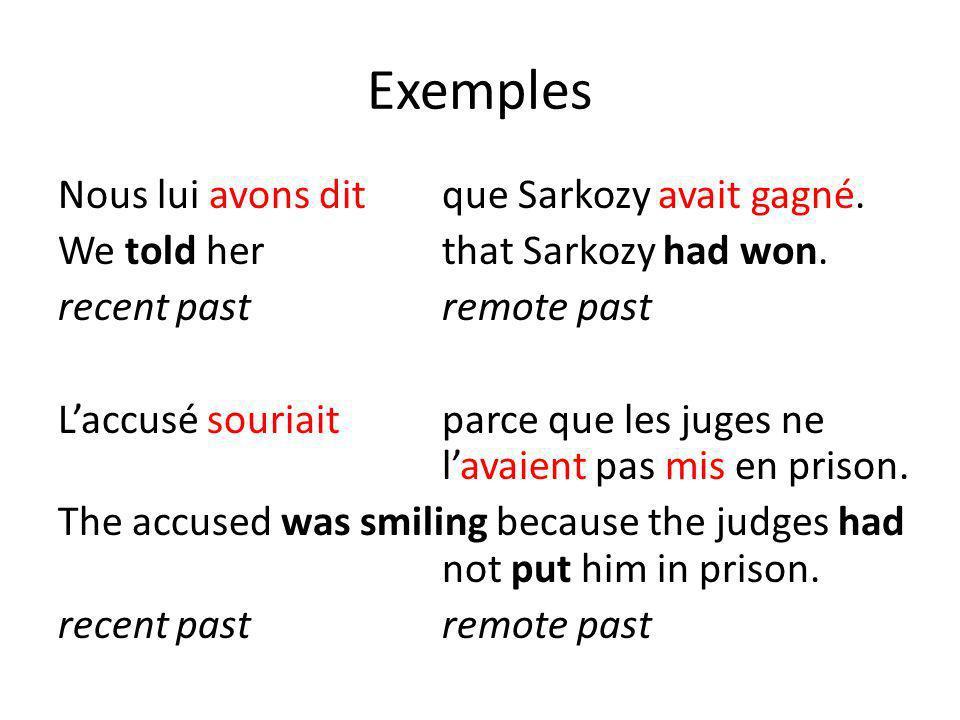 Exemples Nous lui avons ditque Sarkozy avait gagné. We told herthat Sarkozy had won. recent pastremote past Laccusé souriaitparce que les juges ne lav