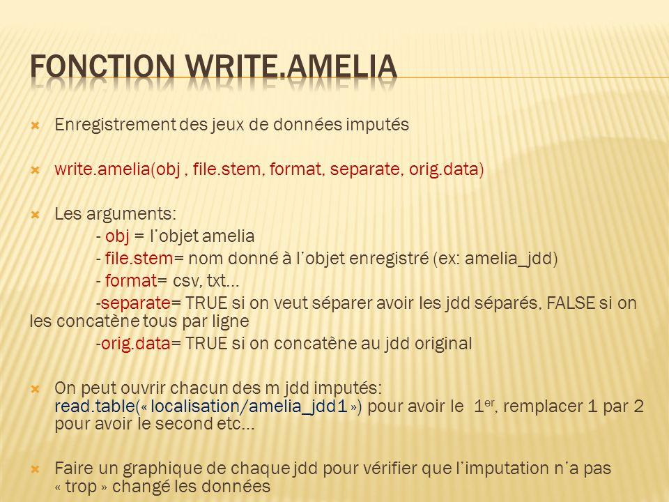 Enregistrement des jeux de données imputés write.amelia(obj, file.stem, format, separate, orig.data) Les arguments: - obj = lobjet amelia - file.stem=