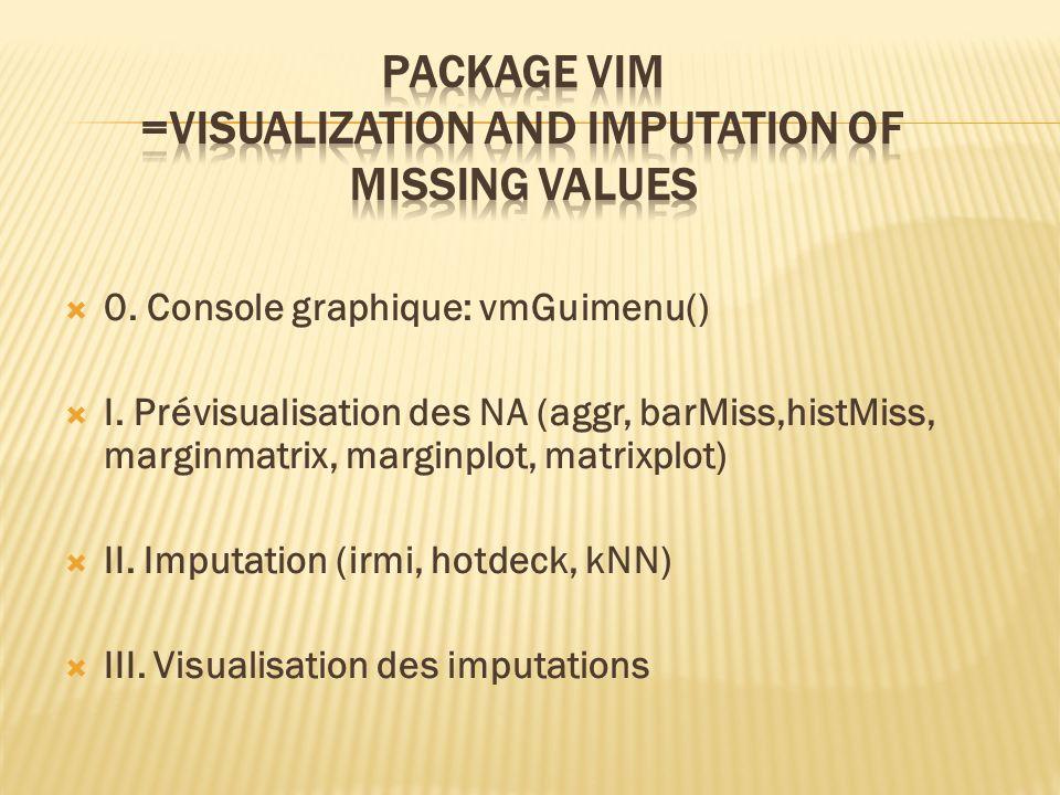 0. Console graphique: vmGuimenu() I. Prévisualisation des NA (aggr, barMiss,histMiss, marginmatrix, marginplot, matrixplot) II. Imputation (irmi, hotd