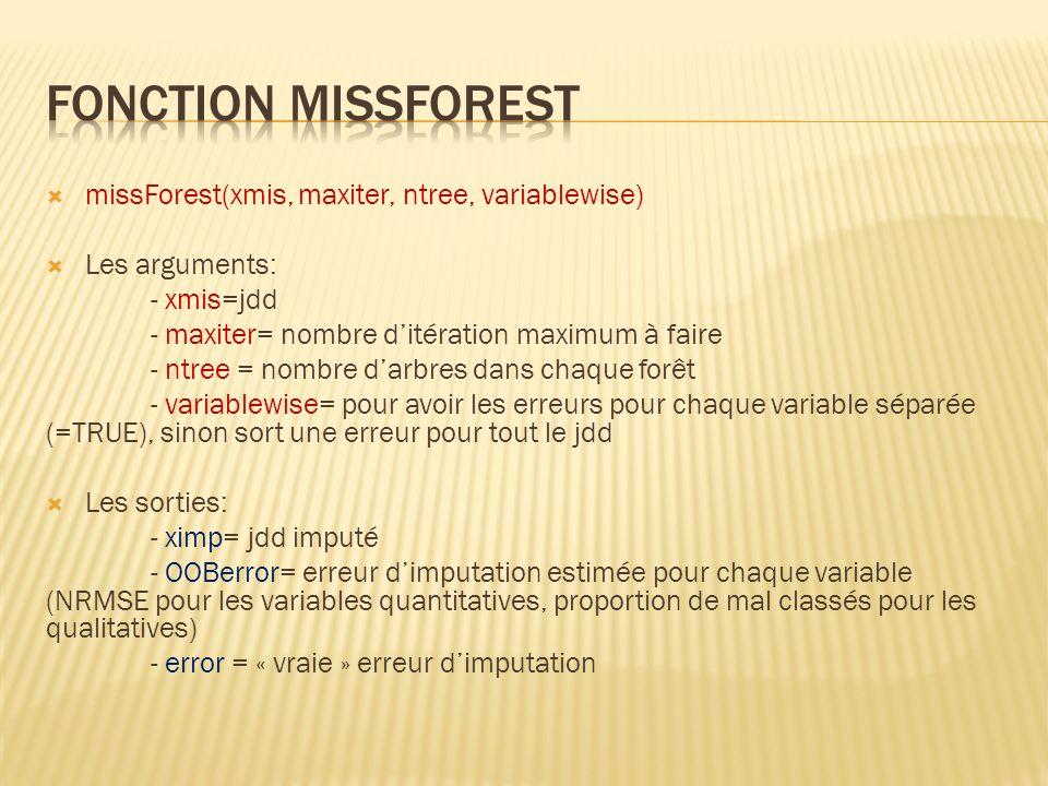 missForest(xmis, maxiter, ntree, variablewise) Les arguments: - xmis=jdd - maxiter= nombre ditération maximum à faire - ntree = nombre darbres dans ch