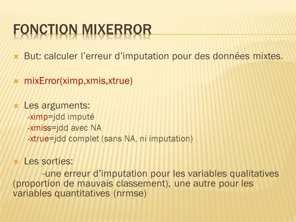 But: calculer lerreur dimputation pour des données mixtes. mixError(ximp,xmis,xtrue) Les arguments: -ximp=jdd imputé -xmiss=jdd avec NA -xtrue=jdd com