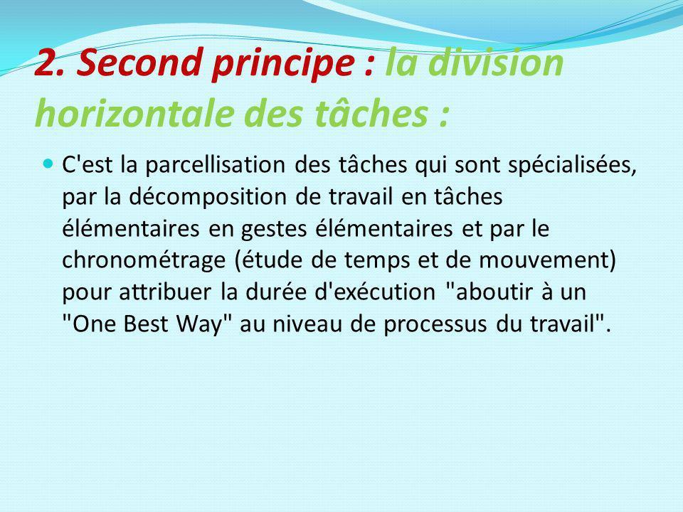 2. Second principe : la division horizontale des tâches : C'est la parcellisation des tâches qui sont spécialisées, par la décomposition de travail en