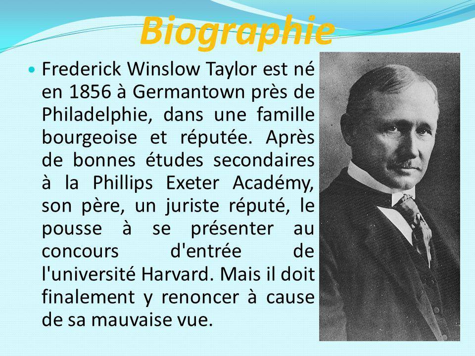 Biographie Frederick Winslow Taylor est né en 1856 à Germantown près de Philadelphie, dans une famille bourgeoise et réputée. Après de bonnes études s