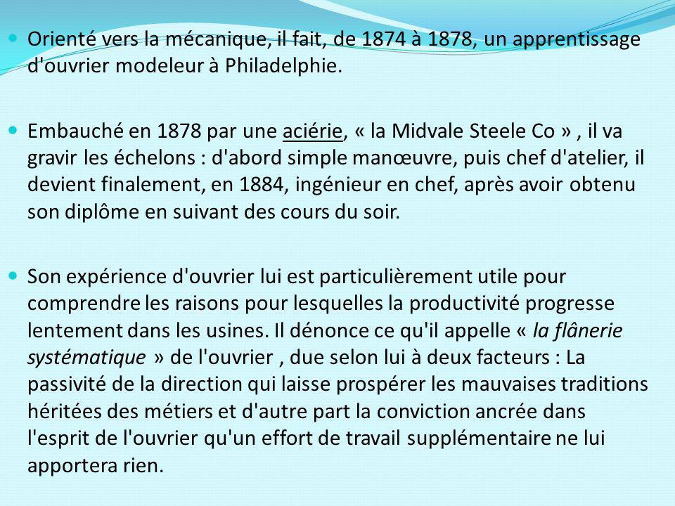 En 1881, il entreprend une analyse du déroulement des tâches.