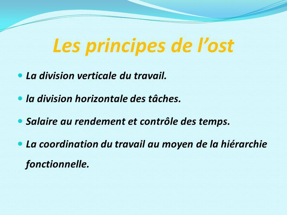 Les principes de lost La division verticale du travail. la division horizontale des tâches. Salaire au rendement et contrôle des temps. La coordinatio