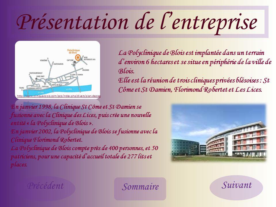 Présentation de lentreprise Sommaire Précédent Suivant La Polyclinique de Blois est implantée dans un terrain denviron 6 hectares et se situe en périphérie de la ville de Blois.