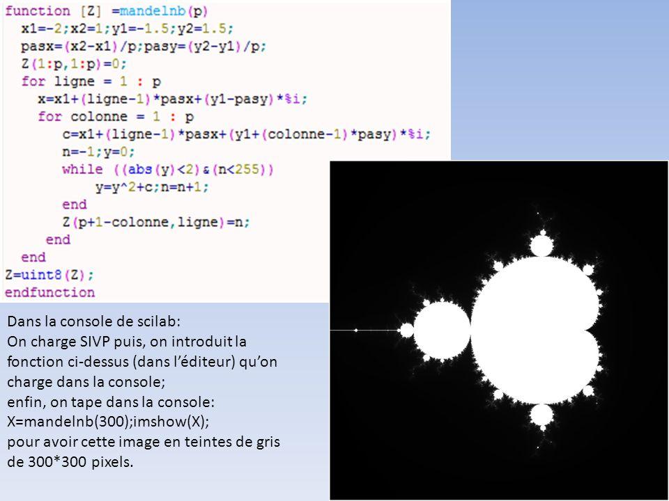 Dans la console de scilab: On charge SIVP puis, on introduit la fonction ci-dessus (dans léditeur) quon charge dans la console; enfin, on tape dans la console: X=mandelnb(300);imshow(X); pour avoir cette image en teintes de gris de 300*300 pixels.