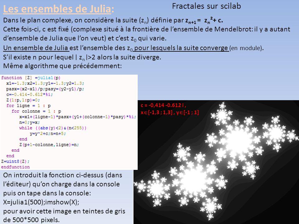 Fractales sur scilab Les ensembles de Julia: Dans le plan complexe, on considère la suite (z n ) définie par z n+1 = z n ²+ c.