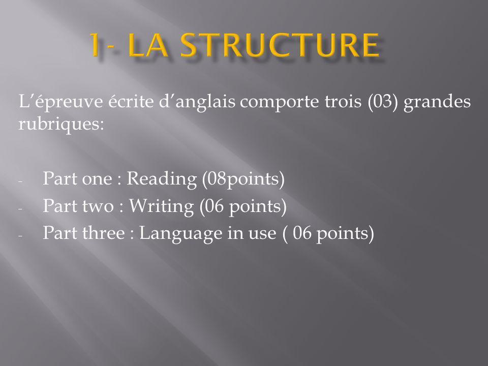 Lépreuve écrite danglais comporte trois (03) grandes rubriques: - Part one : Reading (08points) - Part two : Writing (06 points) - Part three : Langua