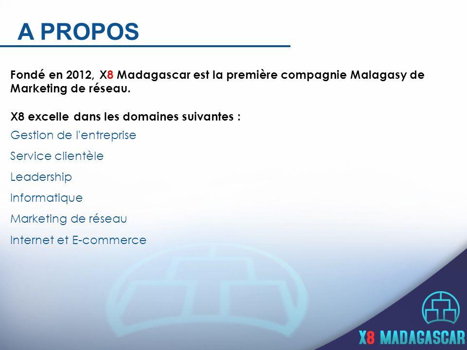 A PROPOS Fondé en 2012, X8 Madagascar est la première compagnie Malagasy de Marketing de réseau. X8 excelle dans les domaines suivantes : Gestion de l