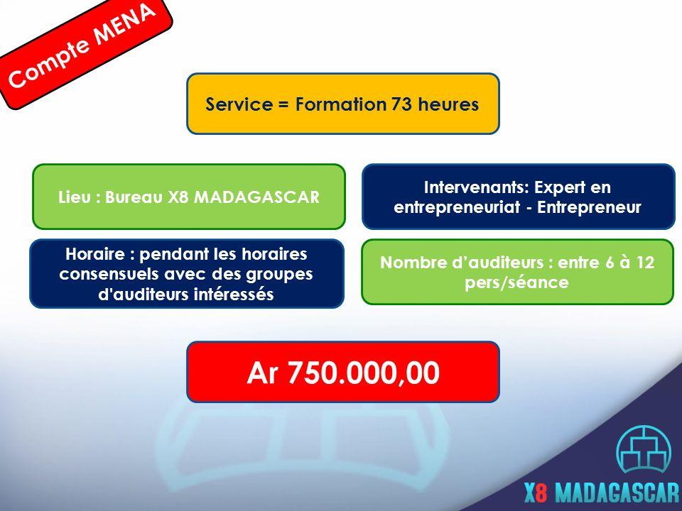 Compte MENA Service = Formation 73 heures Horaire : pendant les horaires consensuels avec des groupes d auditeurs intéressés Lieu : Bureau X8 MADAGASCAR Intervenants: Expert en entrepreneuriat - Entrepreneur Nombre dauditeurs : entre 6 à 12 pers/séance Ar 750.000,00