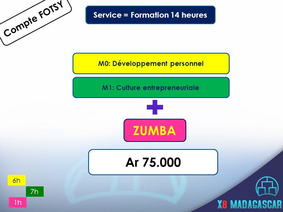 Service = Formation 14 heures M0: Développement personnel Compte FOTSY M1: Culture entrepreneuriale 6h 7h Ar 75.000 ZUMBA 1h