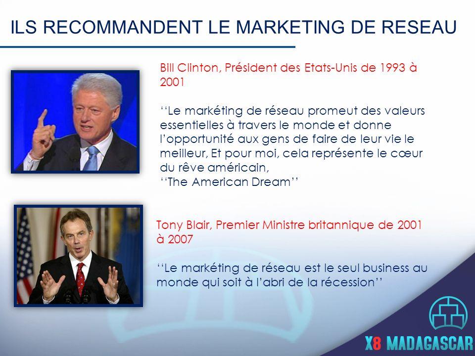 ILS RECOMMANDENT LE MARKETING DE RESEAU Bill Clinton, Président des Etats-Unis de 1993 à 2001 Le markéting de réseau promeut des valeurs essentielles à travers le monde et donne lopportunité aux gens de faire de leur vie le meilleur, Et pour moi, cela représente le cœur du rêve américain, The American Dream Tony Blair, Premier Ministre britannique de 2001 à 2007 Le markéting de réseau est le seul business au monde qui soit à labri de la récession
