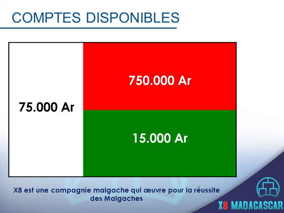 COMPTES DISPONIBLES 750.000 Ar 15.000 Ar 75.000 Ar X8 est une compagnie malgache qui œuvre pour la réussite des Malgaches
