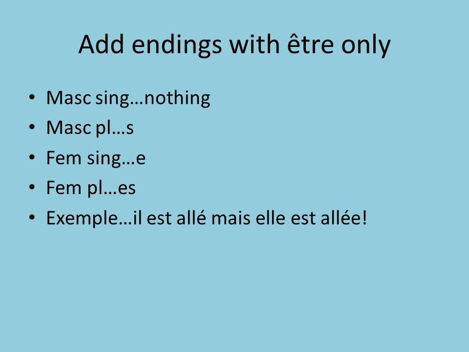 Add endings with être only Masc sing…nothing Masc pl…s Fem sing…e Fem pl…es Exemple…il est allé mais elle est allée!