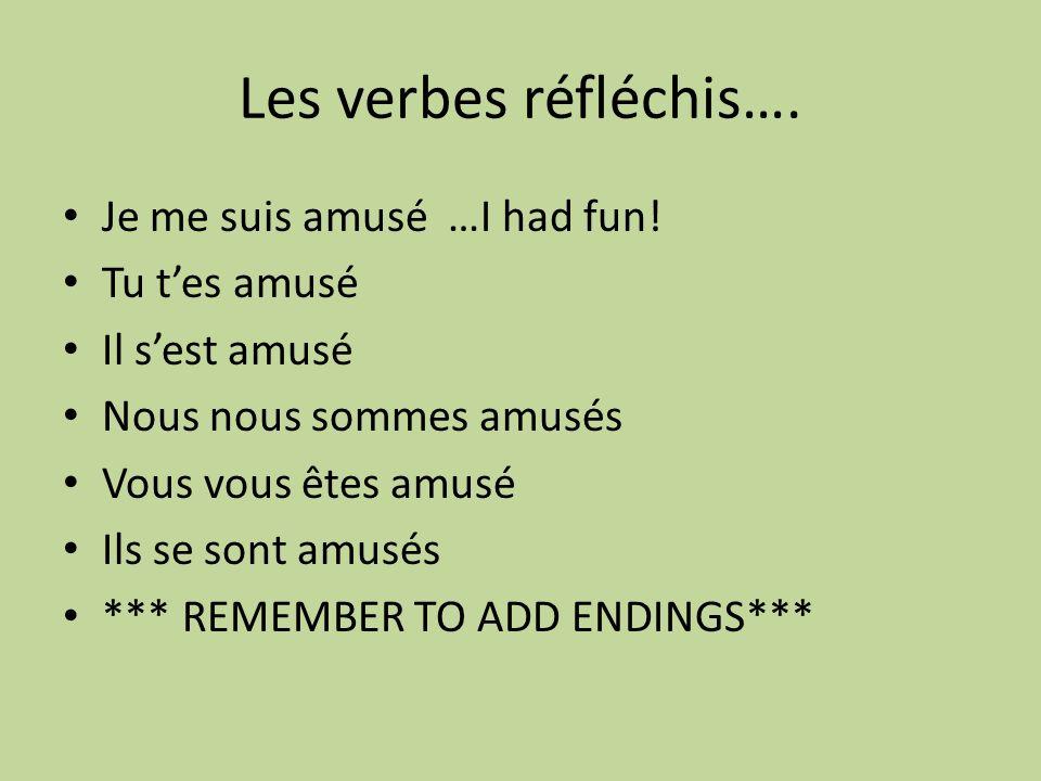 Les verbes réfléchis…. Je me suis amusé …I had fun.