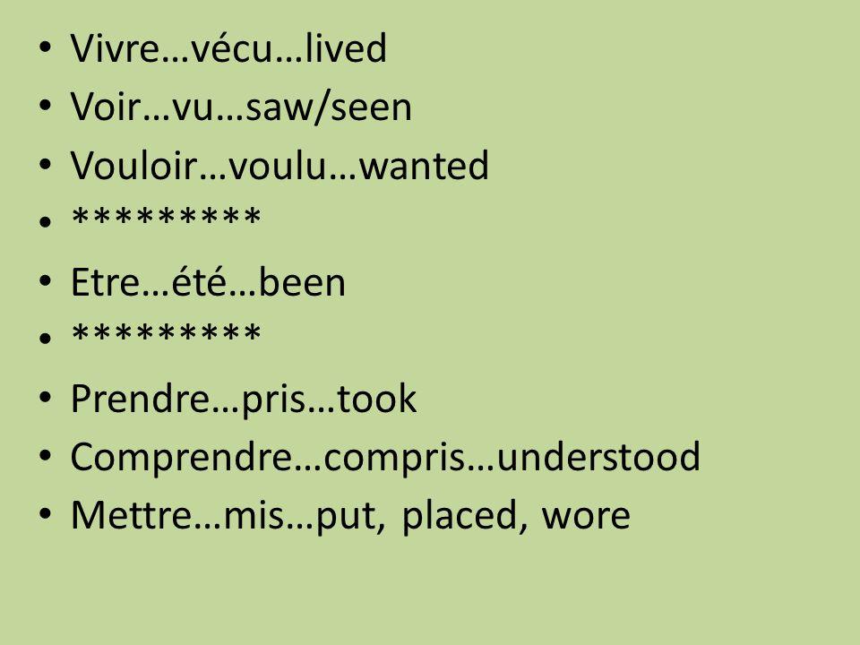 Vivre…vécu…lived Voir…vu…saw/seen Vouloir…voulu…wanted ********* Etre…été…been ********* Prendre…pris…took Comprendre…compris…understood Mettre…mis…put, placed, wore