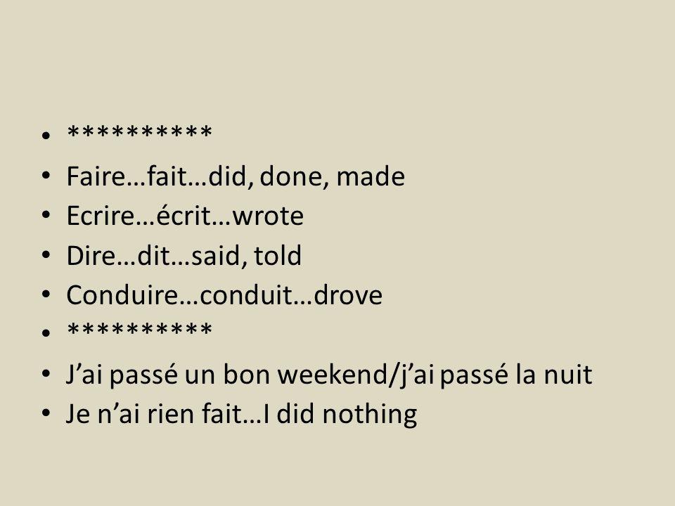 ********** Faire…fait…did, done, made Ecrire…écrit…wrote Dire…dit…said, told Conduire…conduit…drove ********** Jai passé un bon weekend/jai passé la n
