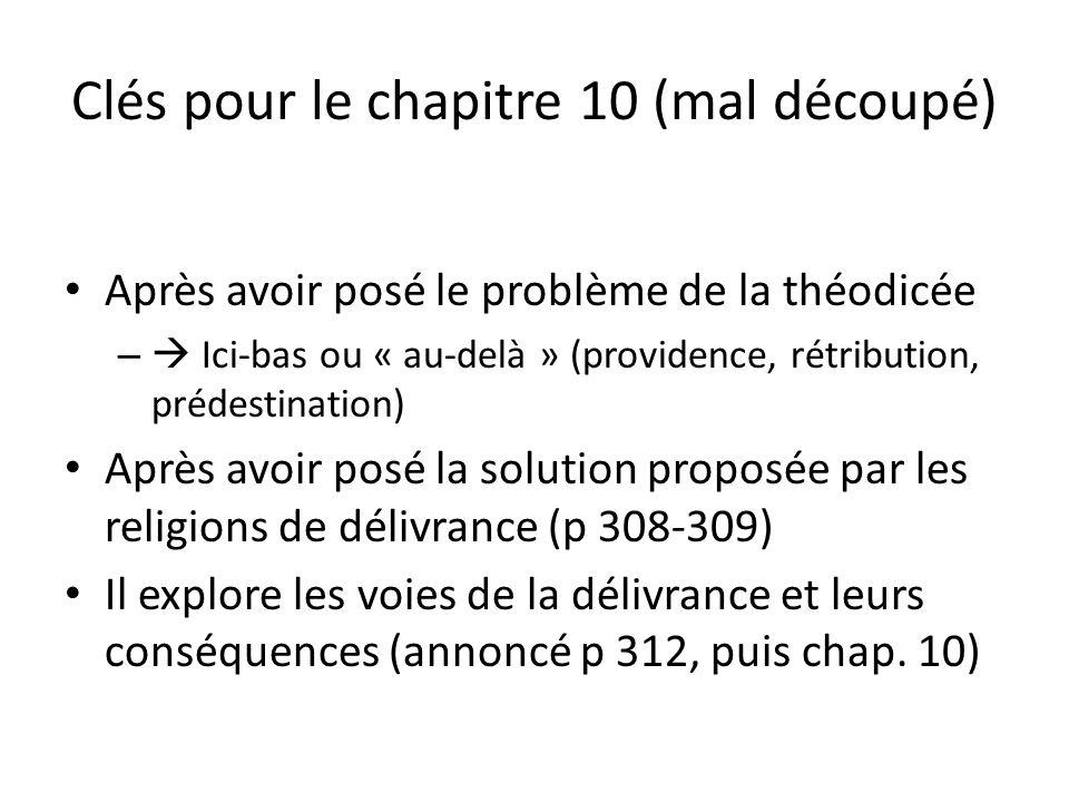 Clés pour le chapitre 10 (mal découpé) Après avoir posé le problème de la théodicée – Ici-bas ou « au-delà » (providence, rétribution, prédestination)