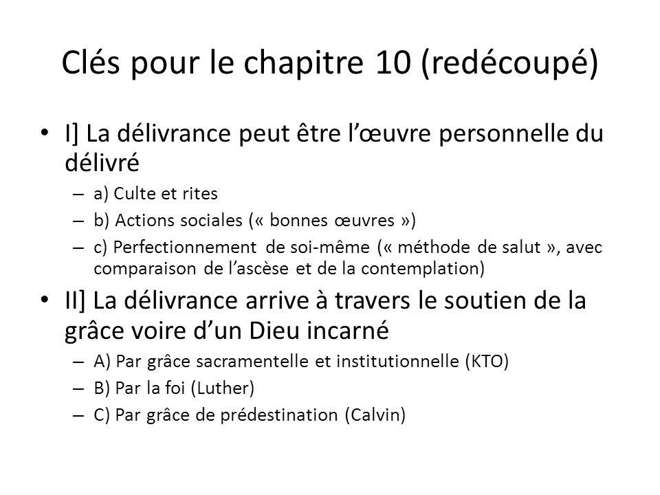 Clés pour le chapitre 10 (redécoupé) I] La délivrance peut être lœuvre personnelle du délivré – a) Culte et rites – b) Actions sociales (« bonnes œuvr