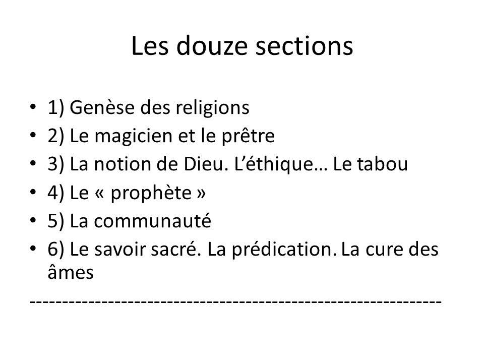 Les douze sections 1) Genèse des religions 2) Le magicien et le prêtre 3) La notion de Dieu. Léthique… Le tabou 4) Le « prophète » 5) La communauté 6)