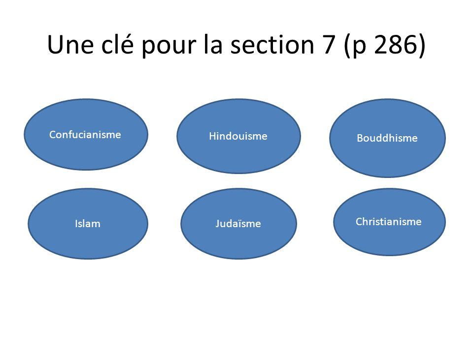 Une clé pour la section 7 (p 286) Confucianisme Islam Hindouisme Bouddhisme Christianisme Judaïsme