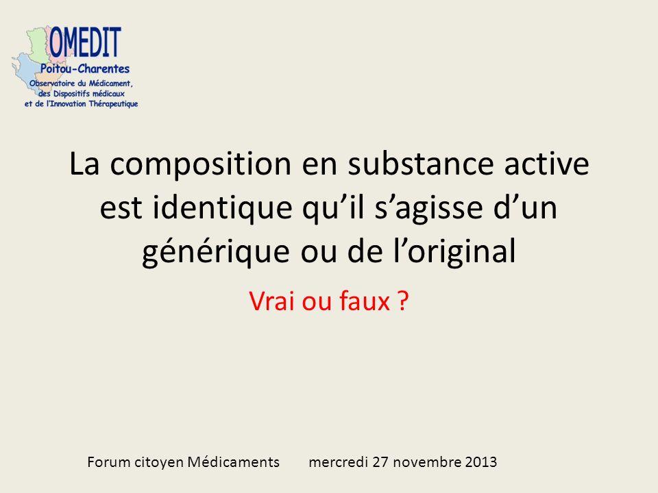 La composition en substance active est identique quil sagisse dun générique ou de loriginal Vrai ou faux .