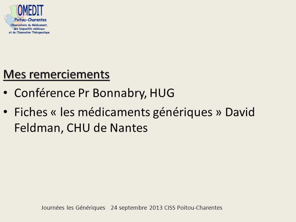 Mes remerciements Conférence Pr Bonnabry, HUG Fiches « les médicaments génériques » David Feldman, CHU de Nantes Journées les Génériques 24 septembre 2013 CISS Poitou-Charentes