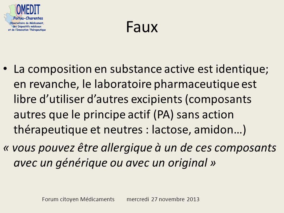 Faux La composition en substance active est identique; en revanche, le laboratoire pharmaceutique est libre dutiliser dautres excipients (composants a