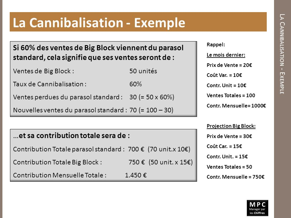 Si 60% des ventes de Big Block viennent du parasol standard, cela signifie que ses ventes seront de : Ventes de Big Block : 50 unités Taux de Cannibal