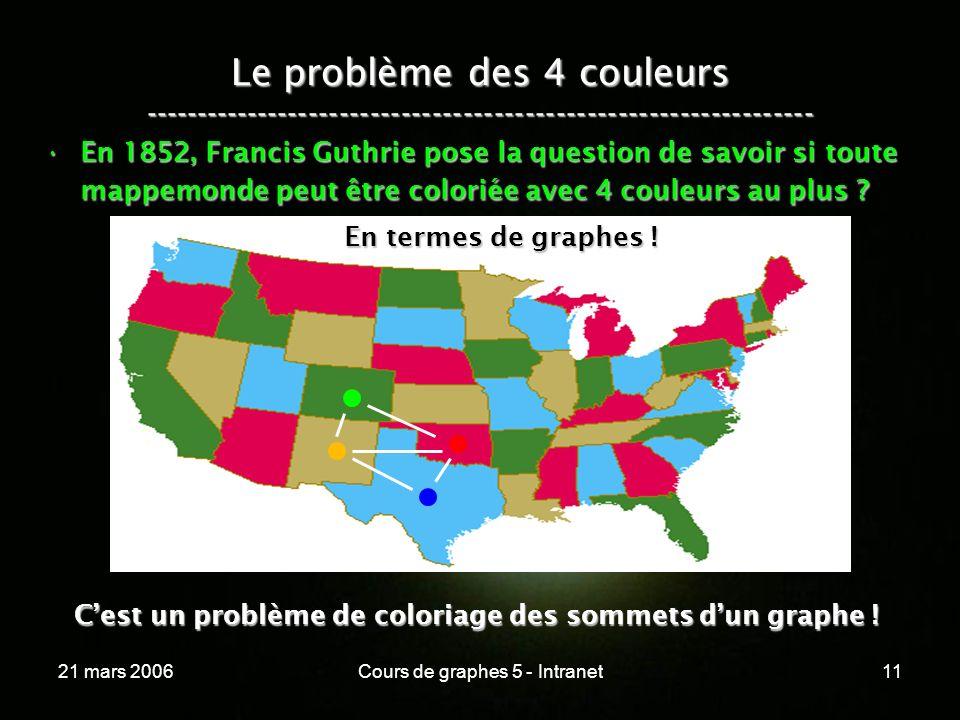 21 mars 2006Cours de graphes 5 - Intranet11 Le problème des 4 couleurs ----------------------------------------------------------------- En 1852, Francis Guthrie pose la question de savoir si toute mappemonde peut être coloriée avec 4 couleurs au plus ?En 1852, Francis Guthrie pose la question de savoir si toute mappemonde peut être coloriée avec 4 couleurs au plus .