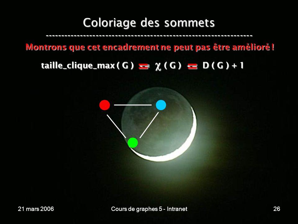21 mars 2006Cours de graphes 5 - Intranet26 Coloriage des sommets ----------------------------------------------------------------- taille_clique_max ( G ) <= ( G ) <= D ( G ) + 1 Montrons que cet encadrement ne peut pas être amélioré .