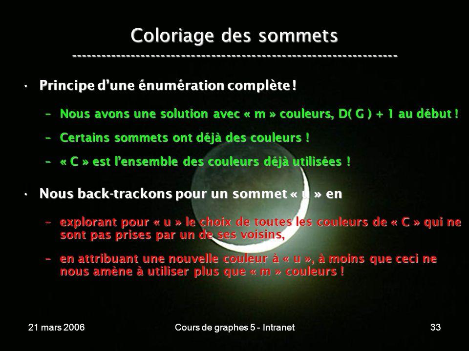 21 mars 2006Cours de graphes 5 - Intranet33 Coloriage des sommets ----------------------------------------------------------------- Principe dune énumération complète !Principe dune énumération complète .