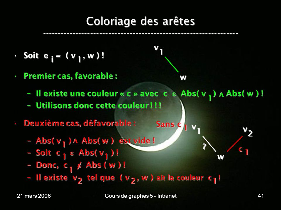 21 mars 2006Cours de graphes 5 - Intranet41 Coloriage des arêtes ----------------------------------------------------------------- Soit e = ( v, w ) !Soit e = ( v, w ) .
