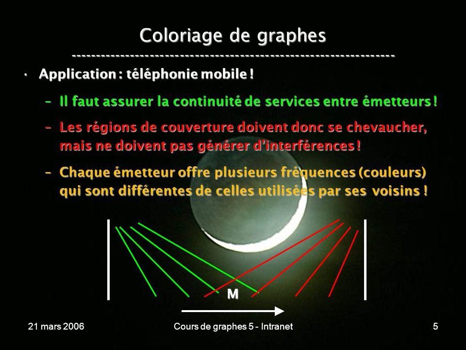 21 mars 2006Cours de graphes 5 - Intranet36 Graphes bi-partis ----------------------------------------------------------------- Un graphe est bi-parti si ses sommets peuvent être coloriés à laide de deux couleurs seulement !Un graphe est bi-parti si ses sommets peuvent être coloriés à laide de deux couleurs seulement .