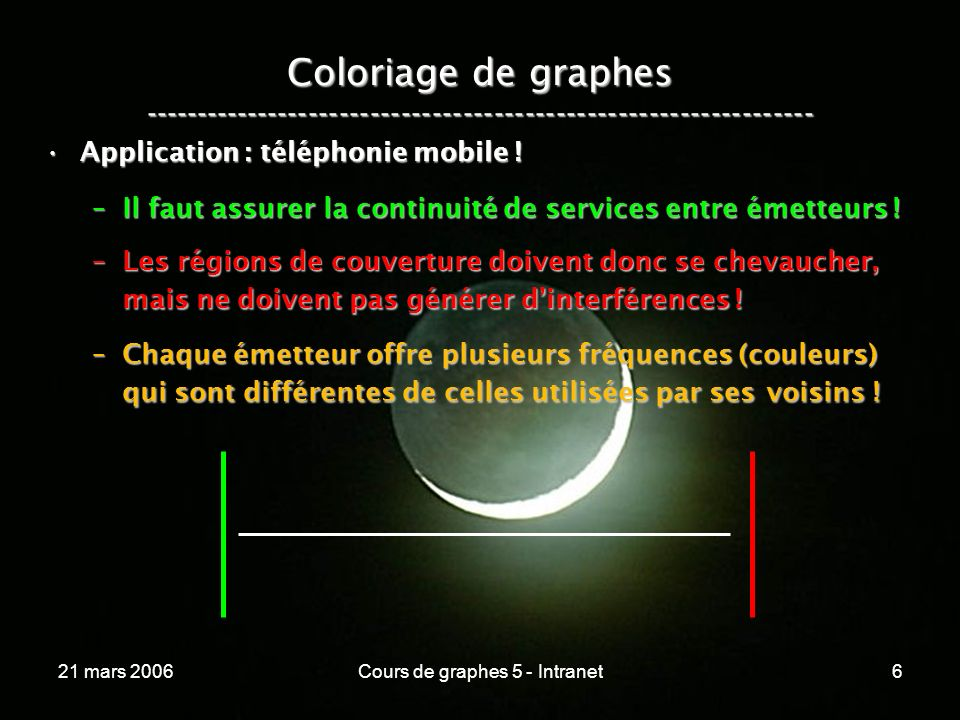 21 mars 2006Cours de graphes 5 - Intranet7 Coloriage de graphes ----------------------------------------------------------------- Coloriage des arêtes dun graphe :Coloriage des arêtes dun graphe : –Deux arrêtes adjacentes ne doivent pas avoir la même couleur .