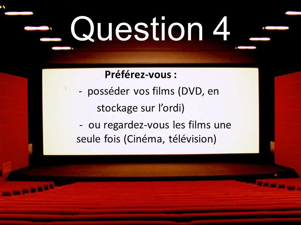 Question 4 Préférez-vous : - posséder vos films (DVD, en stockage sur lordi) - ou regardez-vous les films une seule fois (Cinéma, télévision)