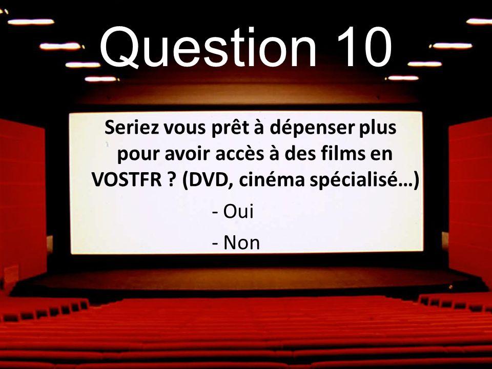 Question 10 Seriez vous prêt à dépenser plus pour avoir accès à des films en VOSTFR ? (DVD, cinéma spécialisé…) - Oui - Non