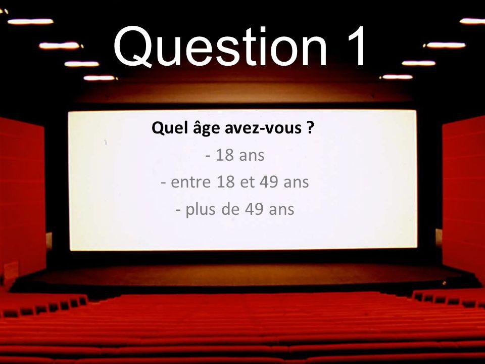 Question 1 Quel âge avez-vous ? - 18 ans - entre 18 et 49 ans - plus de 49 ans