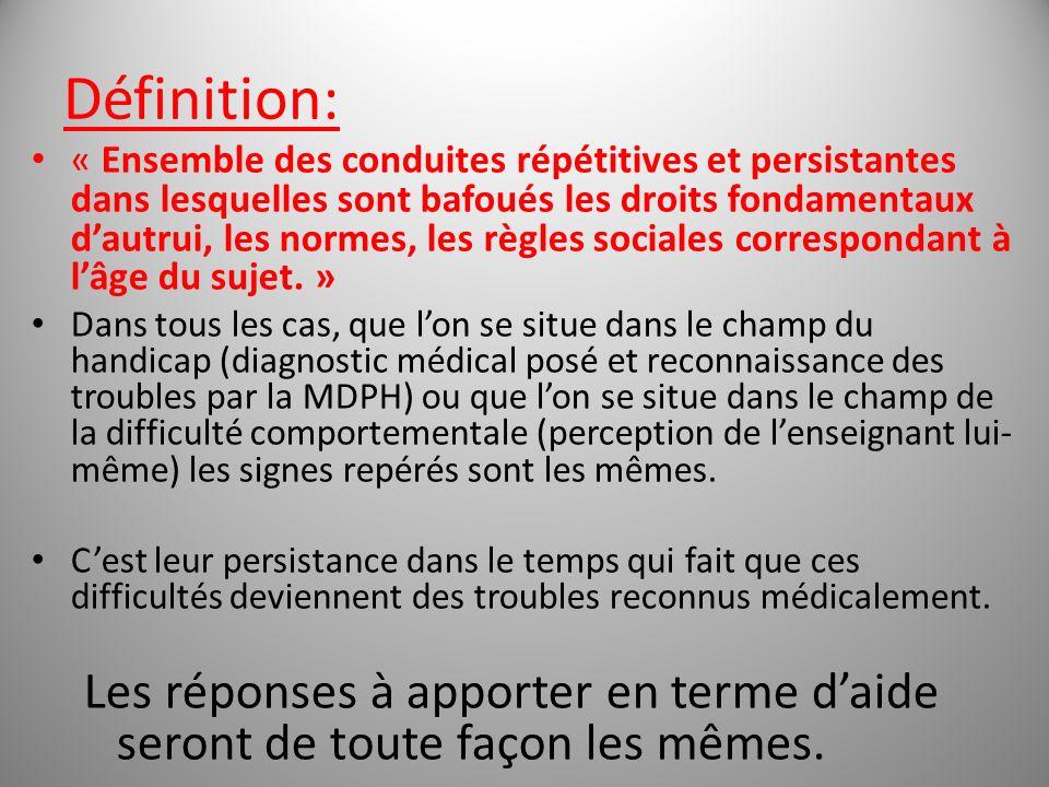 Définition: « Ensemble des conduites répétitives et persistantes dans lesquelles sont bafoués les droits fondamentaux dautrui, les normes, les règles sociales correspondant à lâge du sujet.