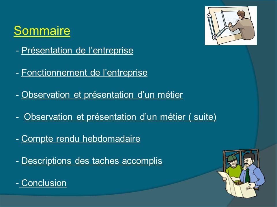 Sommaire - Présentation de lentreprisePrésentation de lentreprise - Fonctionnement de lentrepriseFonctionnement de lentreprise - Observation et présen