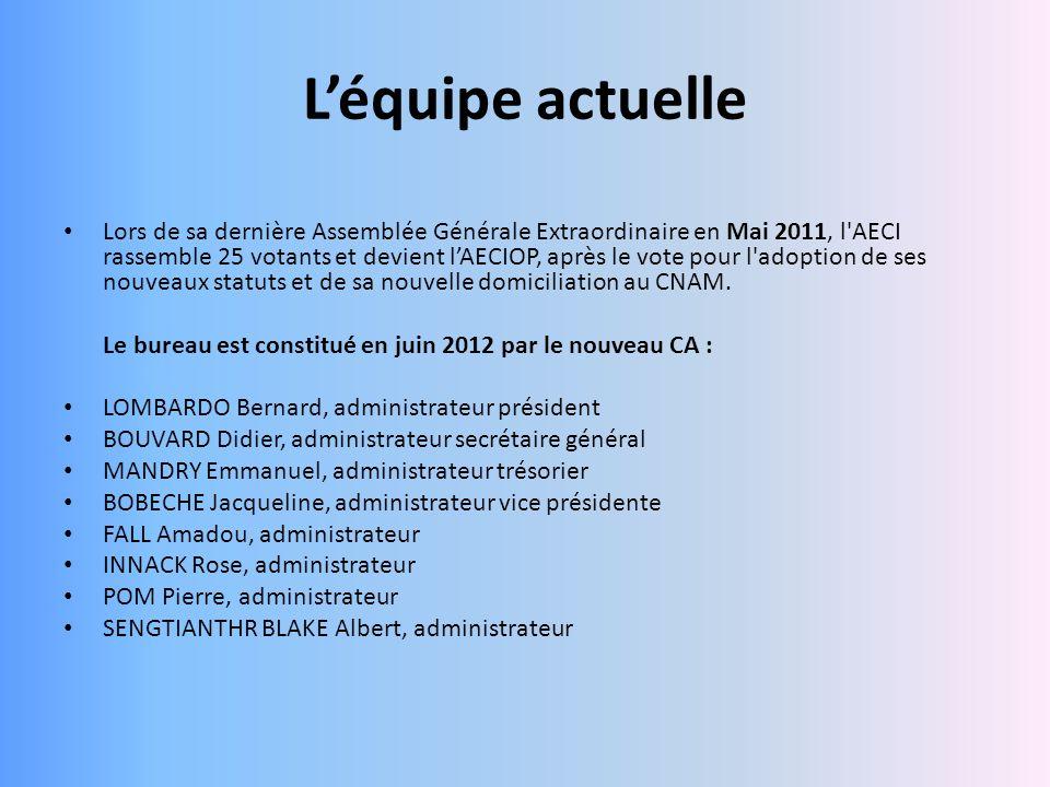 Léquipe actuelle Lors de sa dernière Assemblée Générale Extraordinaire en Mai 2011, l'AECI rassemble 25 votants et devient lAECIOP, après le vote pour