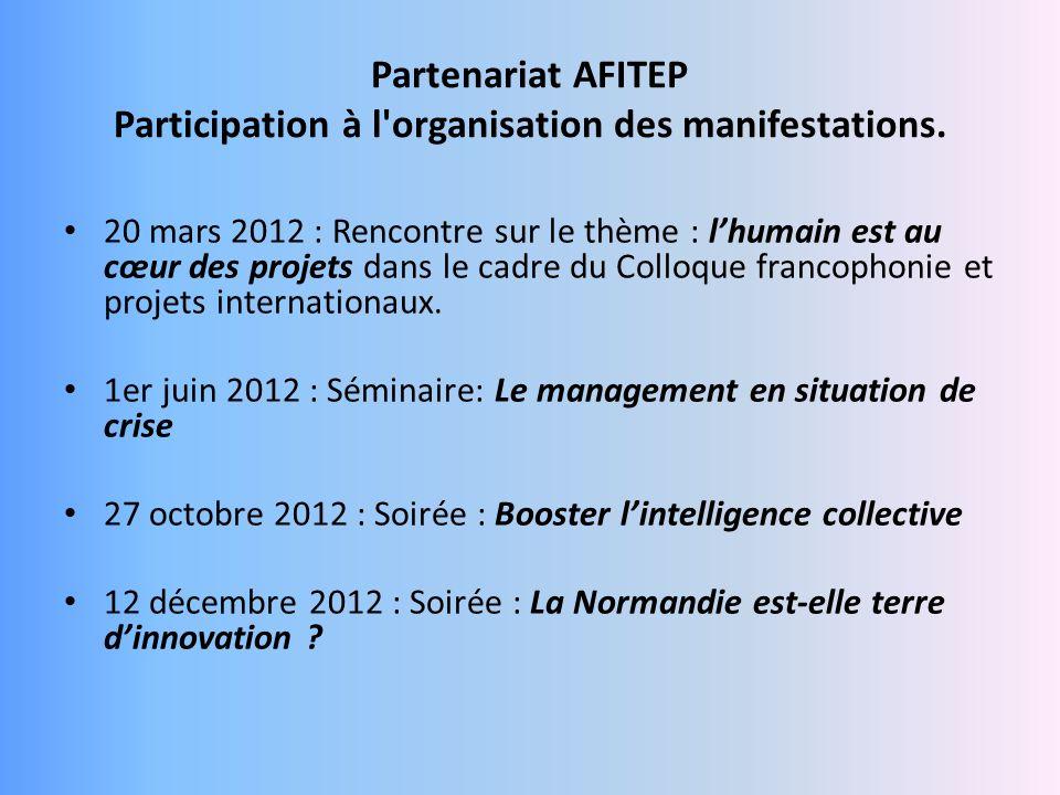 Partenariat AFITEP Participation à l'organisation des manifestations. 20 mars 2012 : Rencontre sur le thème : lhumain est au cœur des projets dans le